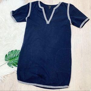 J. Crew Navy Short Sleeve Pockets Vneck Dress 1895